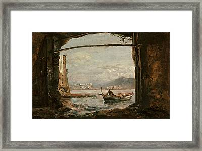 View From A Grotto Near Posillipo Framed Print by Johan Christian Dahl