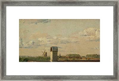 View From A Window In Toldbodvej Looking Towards The Citadel In Copenhagen Framed Print by Christen Kobke
