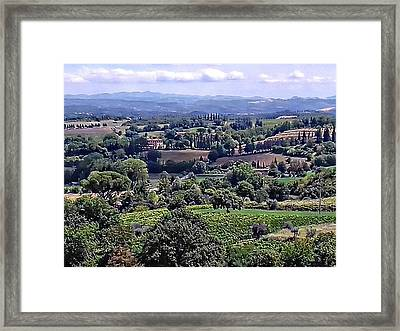 View From Cetona In Tuscany To Citta Della Pieve In Umbria Framed Print