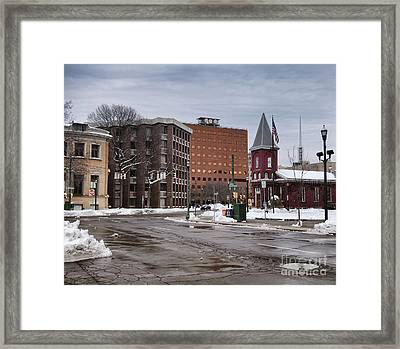 View From Circle Framed Print by Debra Millet