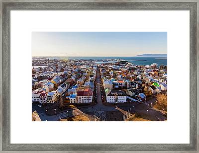 Framed Print featuring the photograph View From Hallgrimskirka by Wade Courtney