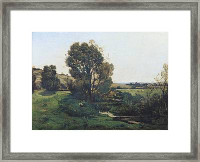 View From Moncel-sur-seine Framed Print by Henri-Joseph Harpignies