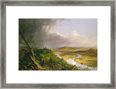 View From Mount Holyoke Northampton Massachusetts After A Thunderstorm. The Oxbow Framed Print by Thomas Cole