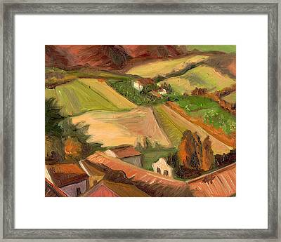 View From San Gimignano II Framed Print by Jennie Traill Schaeffer