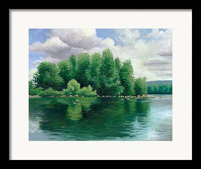 Trees Reflecting In Water Paintings Framed Prints