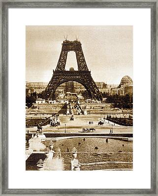 View From The Chaillot Palace Of The Eiffel Tower Being Built Framed Print by French School