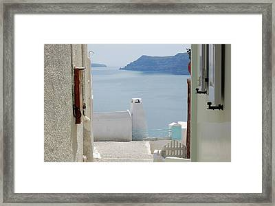 View From The Doors Of The Aegean Sea Framed Print