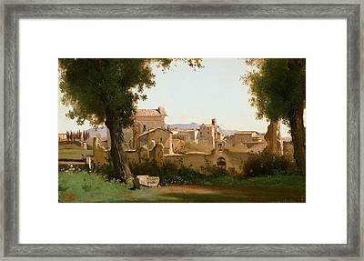 View From The Farnese Gardens, Rome Framed Print by Jean-Baptiste-Camille Corot