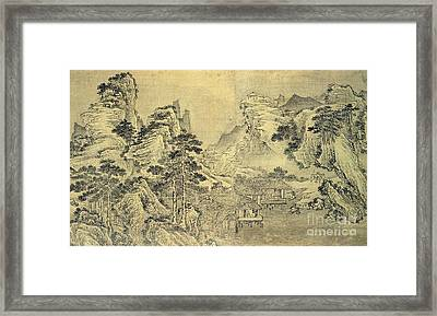 View From The Keyin Pavilion On Paradise - Baojie Mountain Framed Print by Wang Wen