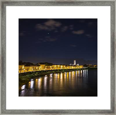 View From The Ponte Pietra Verona Italy At Blue Hour Framed Print by Travel Quest Photography