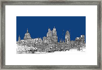 View From The Southbank With Summer Blue Skies Framed Print