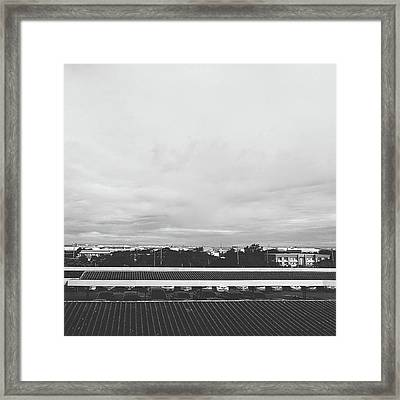 View From The Terrace Black And White Framed Print by Siri