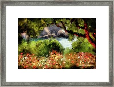 View From The Terrace - Paleokastritsa  Framed Print by Lois Bryan