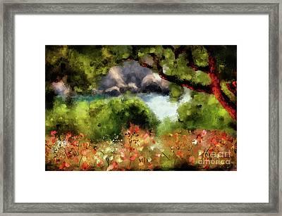 View From The Terrace - Paleokastritsa  Framed Print by Lois Bryan