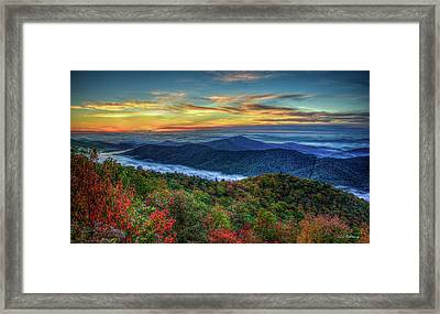 View From The Top Blue Ridge Mountain  Parkway Sunrise Art Framed Print by Reid Callaway