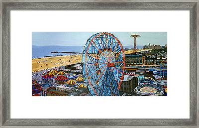 View From The Top Of The Cyclone Rollercoaster Framed Print by Bonnie Siracusa