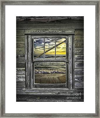 View From Weathered Beach Cottage Framed Print by Walt Foegelle