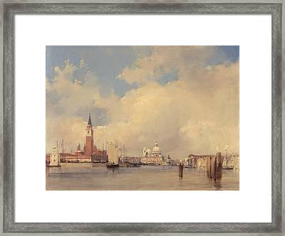 View In Venice With San Giorgio Maggiore Framed Print by Richard Parkes Bonington
