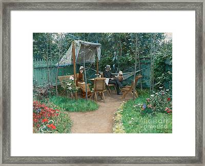 View Of A Garden, Linkoping Framed Print by Johan Fredrik Krouthen