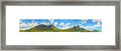 View Of A Lake And Mountains. Mauritius. Panorama Framed Print