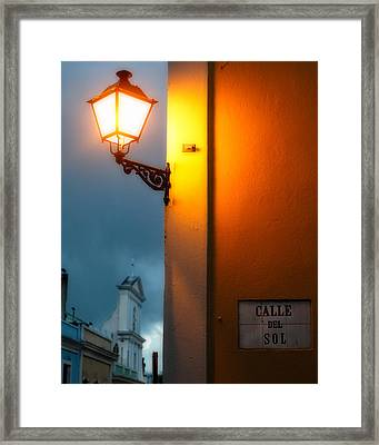 View Of A Lit Old Street Lamp Calle Del Sol Puerto Rico Framed Print by George Oze
