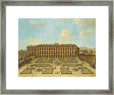 View Of A Palace Possibly The Palacio Riofrio In Segovia With Figures Promenading In The Formal Gard Framed Print by Follower of Francesco Battaglioli