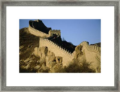 View Of A Section Of The Great Wall Framed Print by Michael S. Yamashita