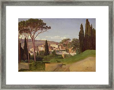 View Of A Villa Framed Print by Jean Achille Benouville