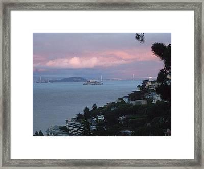 View Of Alcatraz From Our Sausalito Home Framed Print