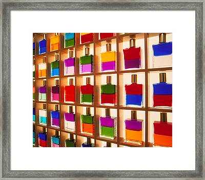 View Of Bottles Used In Aura Soma Colour Therapy Framed Print