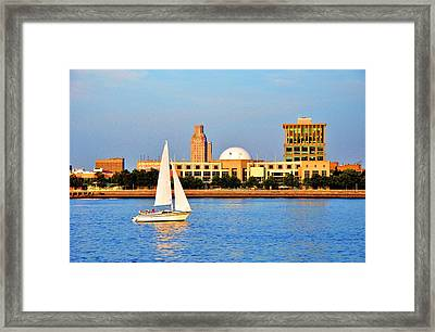 View Of Camden From Philadelphia Framed Print by Andrew Dinh