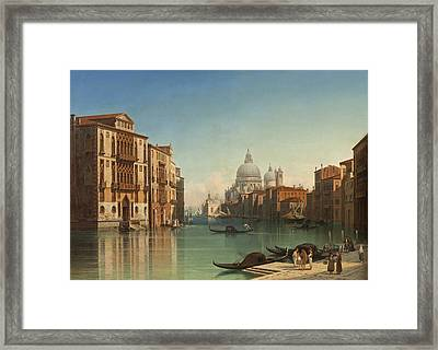 View Of Canal Grande In Venice Framed Print by Gustaf Wilhelm Palm