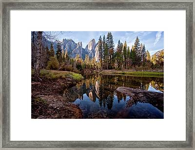 View Of Cathedral Peaks Framed Print by photos by Crow Carol Rukliss, Photographer