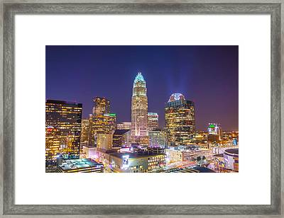 View Of Charlotte Skyline Aerial At Sunset Framed Print