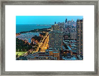 View Of Chicago From Park Place Towers Dsc4666 Framed Print by Raymond Kunst