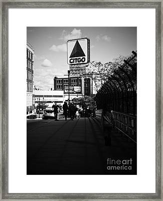 View Of Citgo Sign From David Ortiz Bridge, Boston, Massachusetts Framed Print