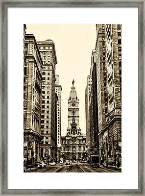 View Of Cityhall From Broad Street In Philadelphia Framed Print by Bill Cannon