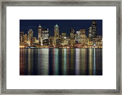View Of Cityscape At Night Framed Print by Stephen Kacirek