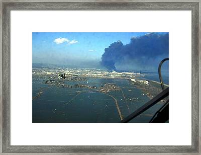 View Of Destroyed Sendai Japan On March Framed Print by Everett