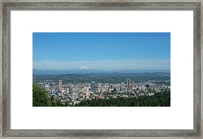 View Of Downtown Portland Oregon From Pittock Mansion Framed Print