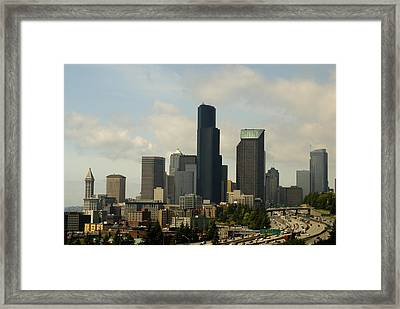 View Of Downtown Framed Print by Sonja Anderson