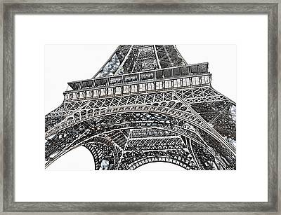 View Of Eiffel Tower First Floor Deck Paris France Colored Pencil Digital Art Framed Print by Shawn O'Brien