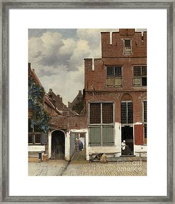 View Of Houses In Delft, Known As The Little Street Framed Print