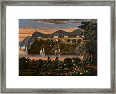 View Of Hudson River At West Point Framed Print by Thomas Chambers