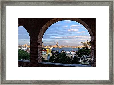 Framed Print featuring the photograph View Of Kaohsiung City At Sunset Time by Yali Shi
