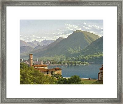 View Of Lake Lugano Framed Print by Lancelot-Theodore Turpin de Crisse