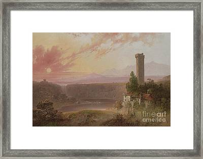 View Of Lake Nemi At Sunset Framed Print by Joshua Shaw