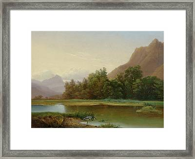 View Of Le Bouveret Framed Print by Alexandre Calame