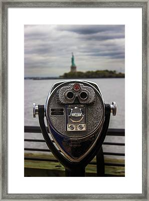 View Of Liberty Island Framed Print by Martin Newman