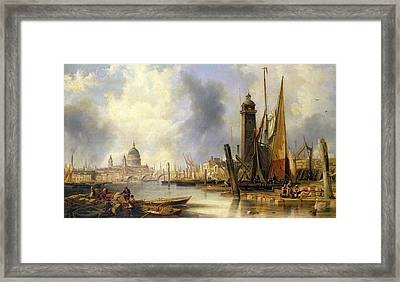 View Of London With St Paul's Framed Print by John Wilson Carmichael